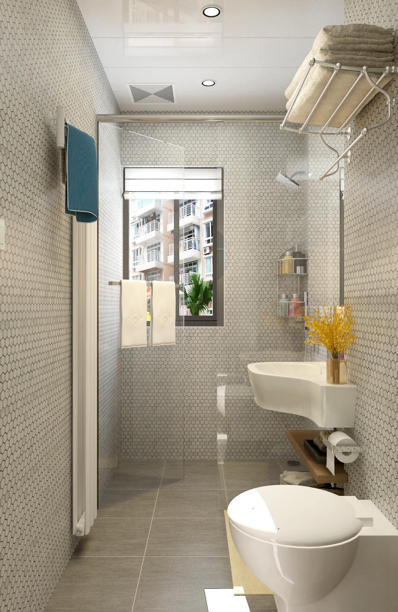 63平二居室混搭装修卫生间设计图