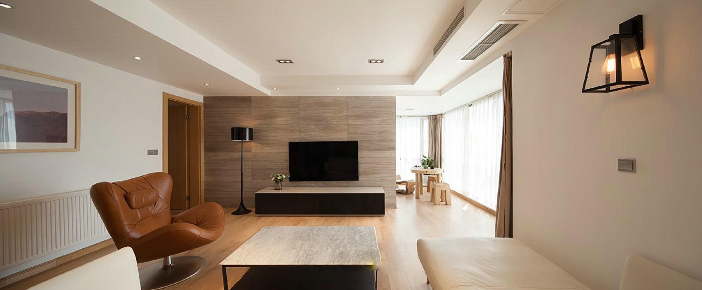 三居室现代简约装修客厅效果图