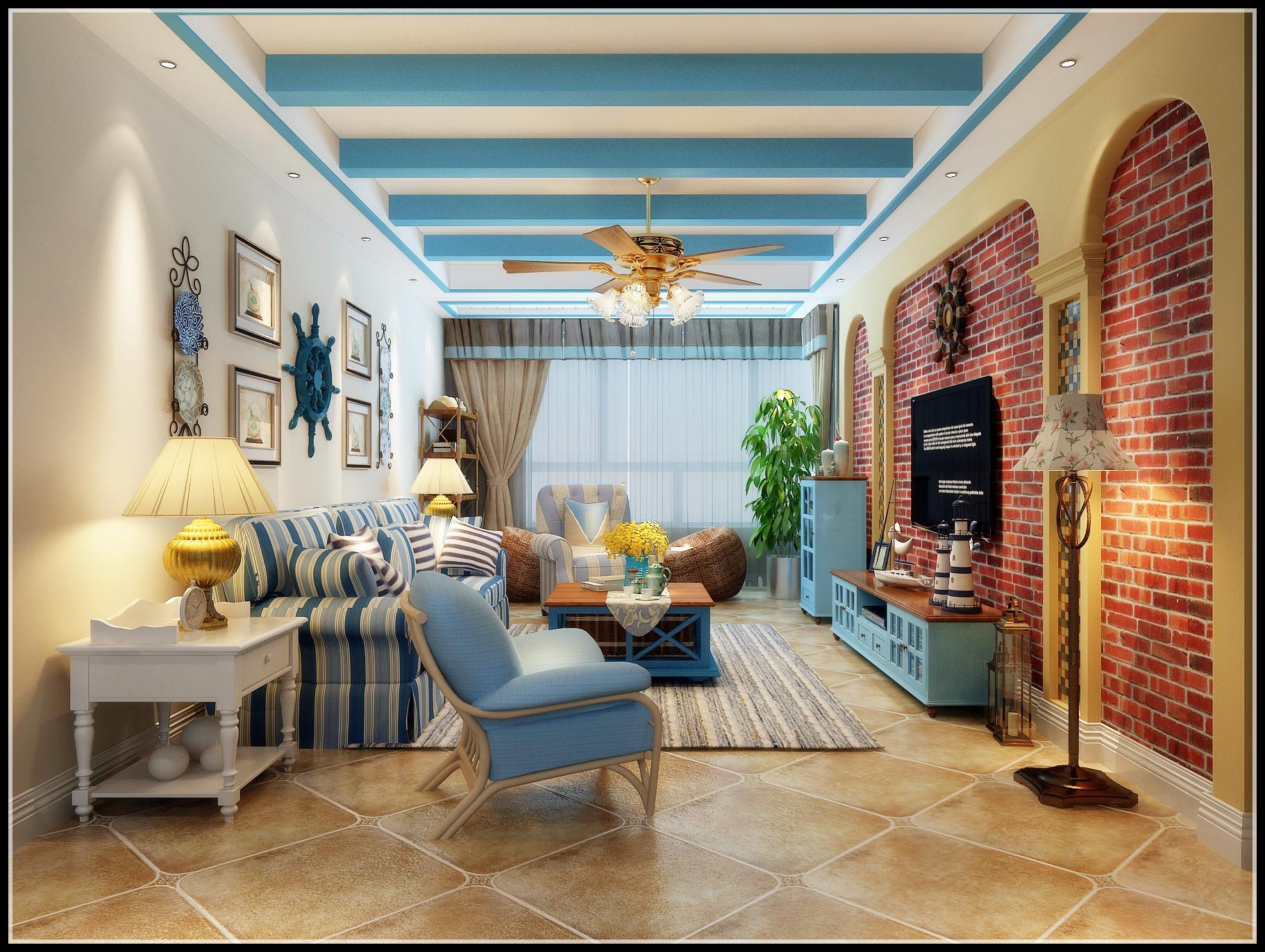 130平地中海风格家电视背景墙图片