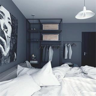 loft二居室装修卧室背景墙图片