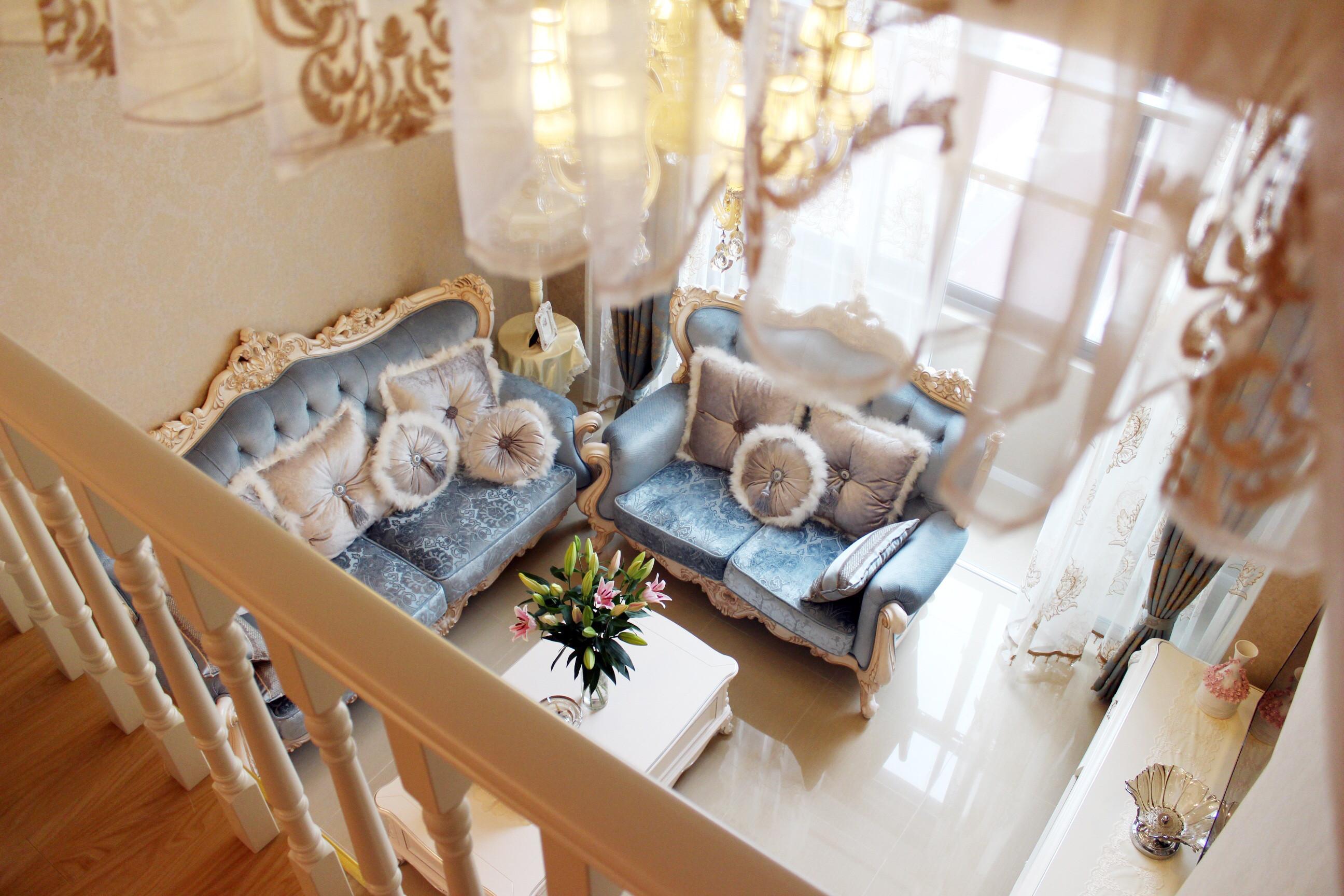 一居室简欧公寓装修客厅俯瞰图