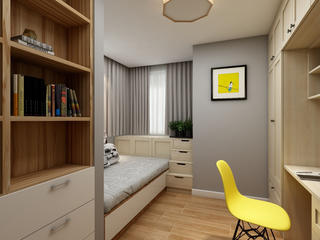 80平三居室空间书房效果图