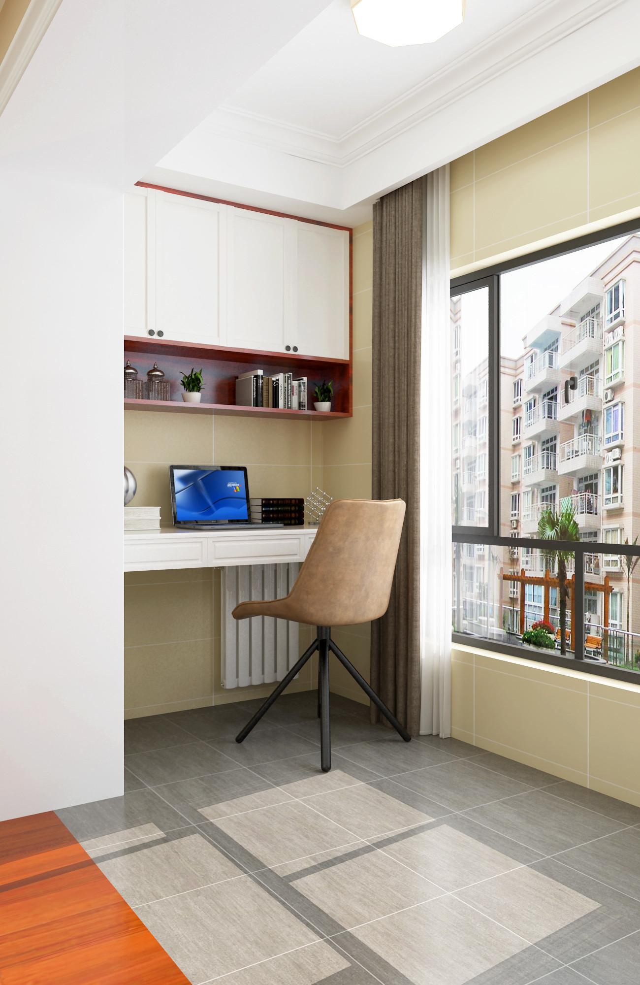 63平二居室混搭装修阳台工作区