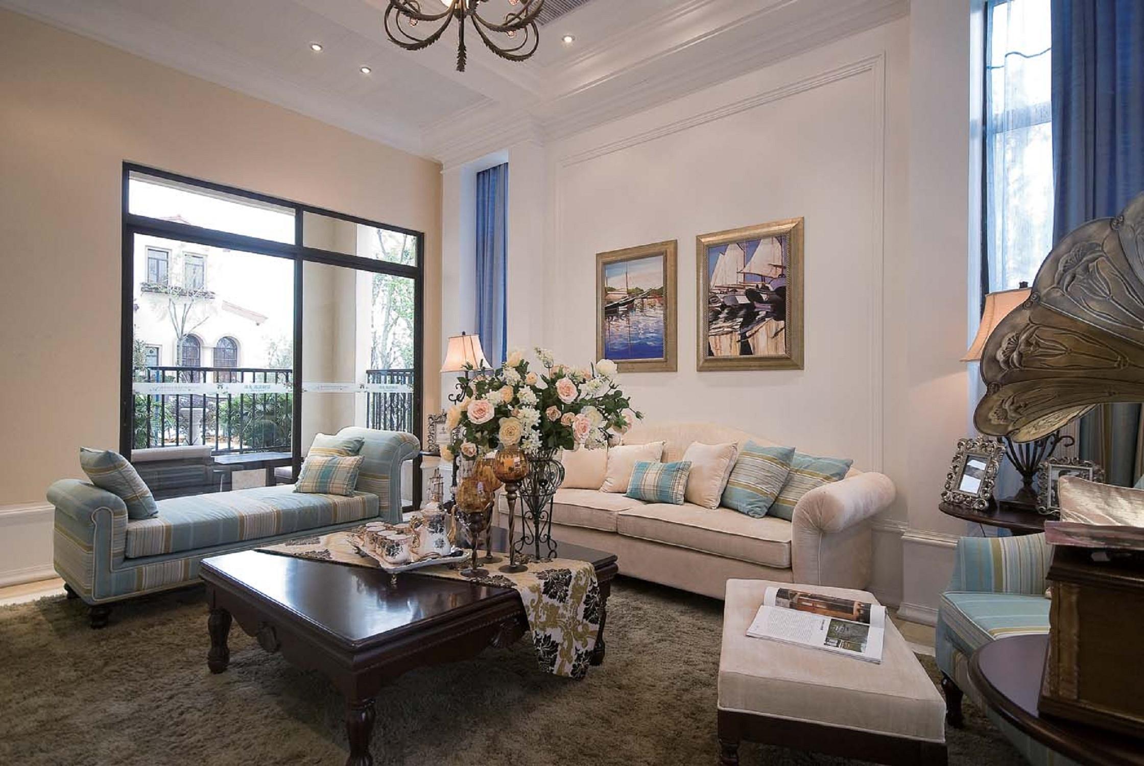 简美别墅装修沙发背景墙图片
