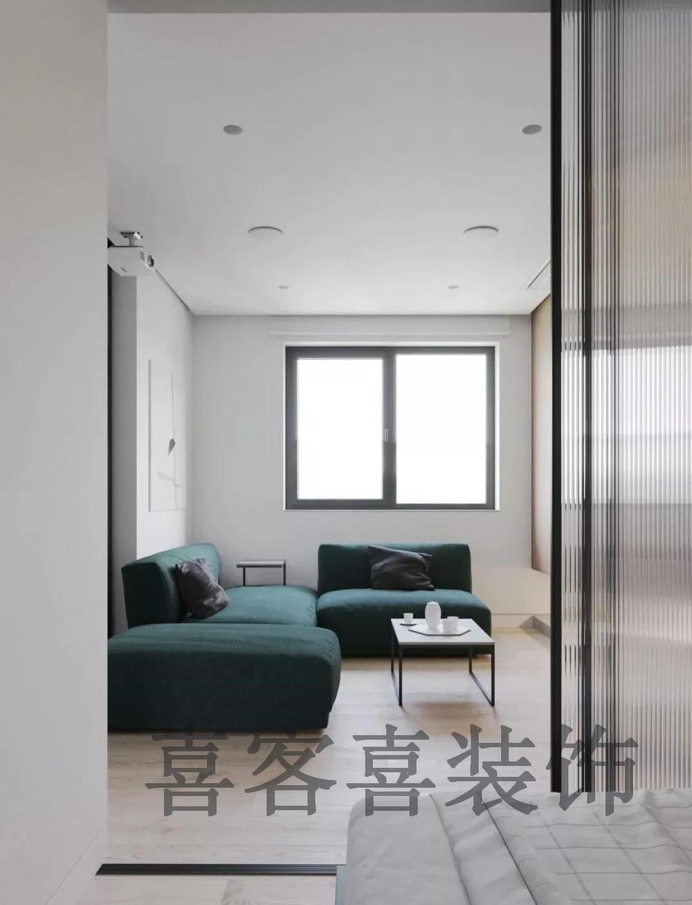 绿色齐家_50㎡极简小户型,超喜欢沙发的墨绿色~-齐家网
