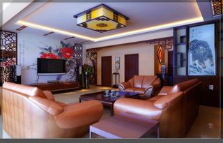 大户型中式风装修客厅效果图