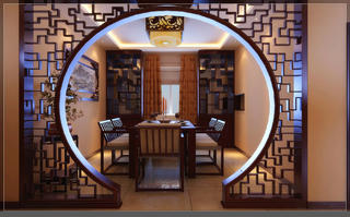 大户型中式风装修餐厅设计图