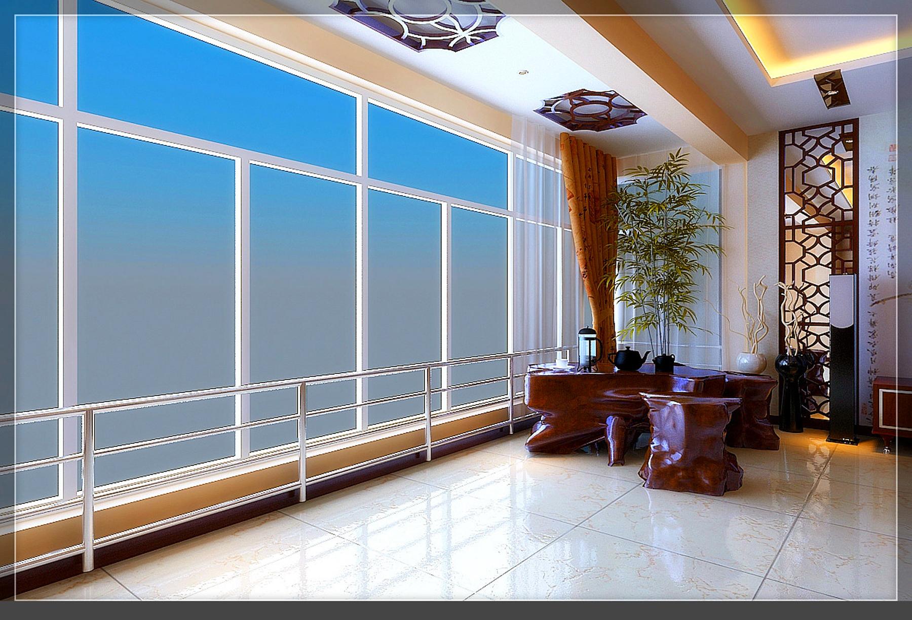 大户型中式风装修阳台效果图