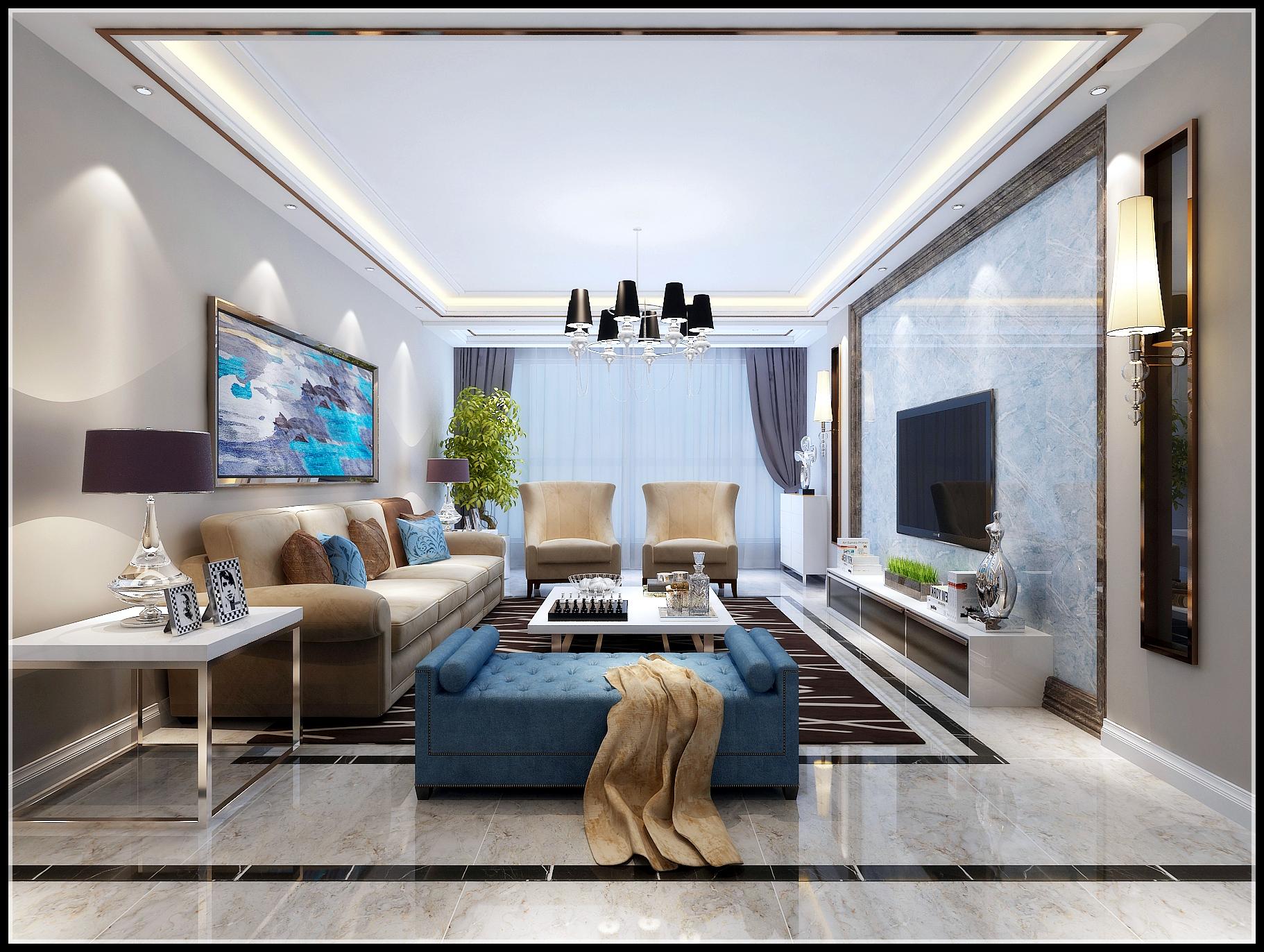 现代简约三居客厅效果图