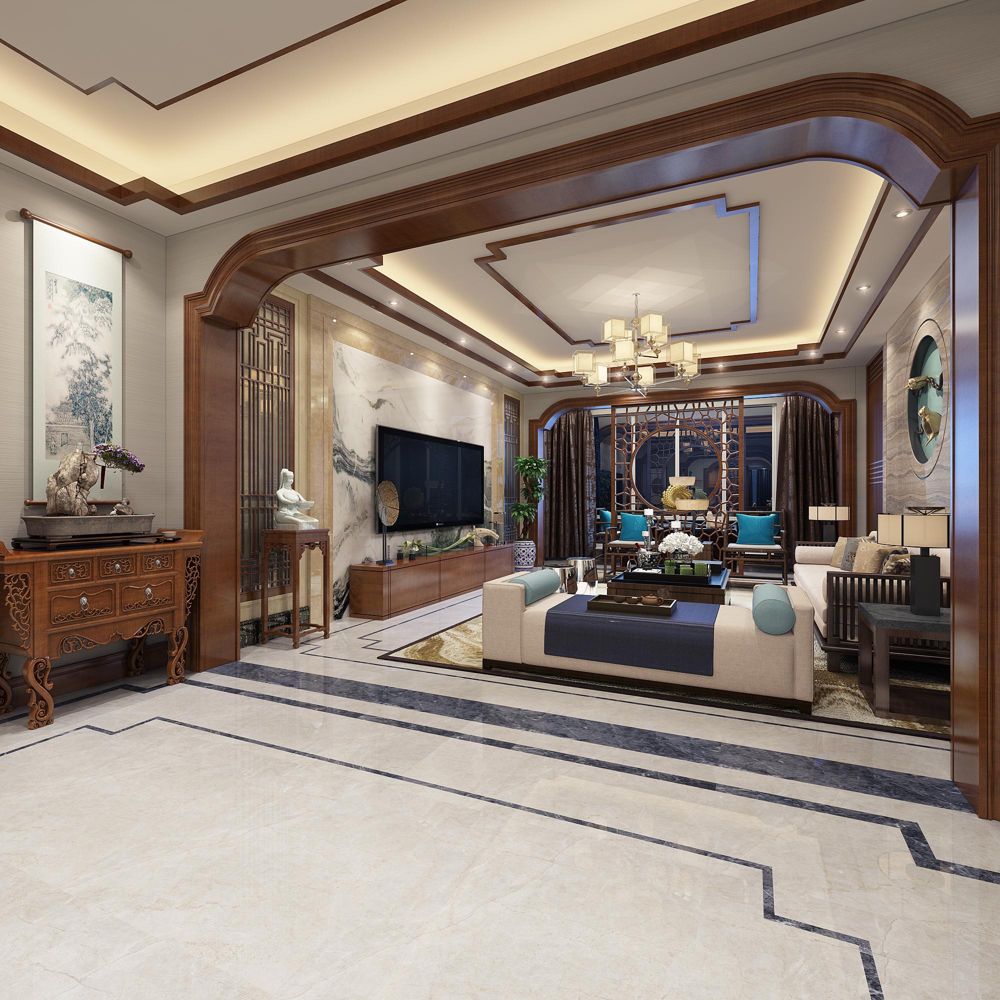 186平中式风格装修客厅效果图