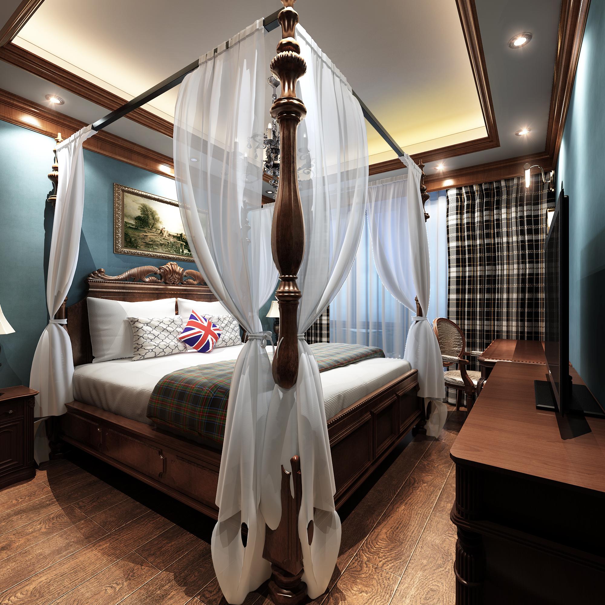 186平中式风格装修次卧设计图