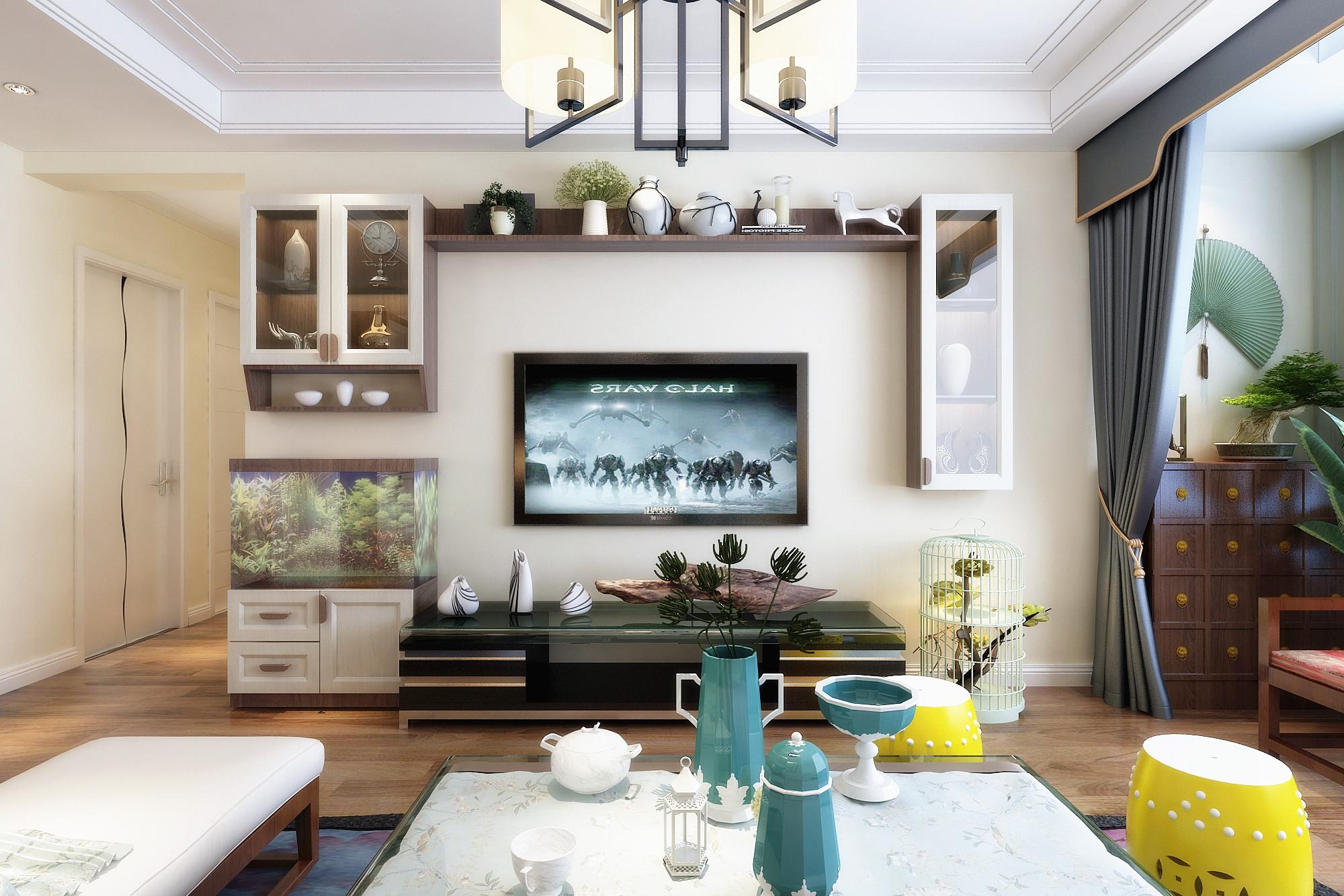 现代中式装修电视背景墙设计
