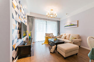 二居室现代美式家客厅设计图