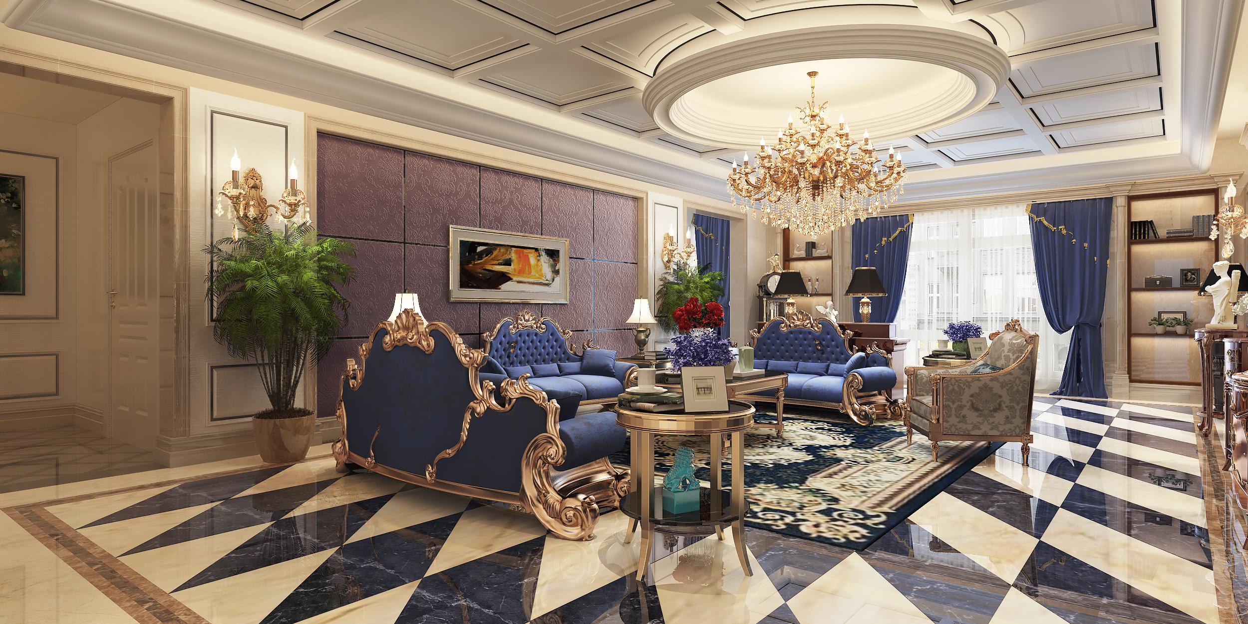 现代欧式装修客厅效果图