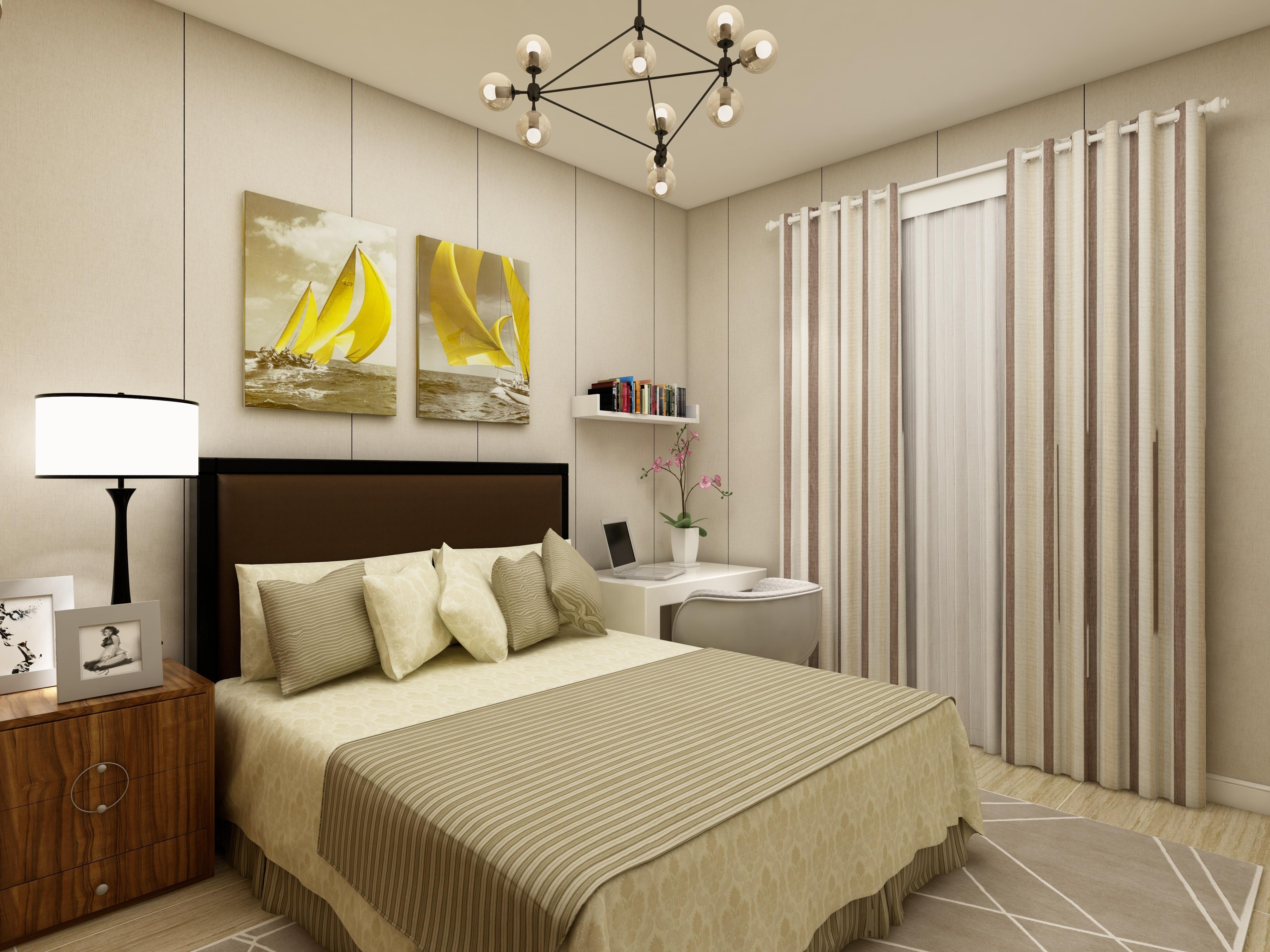 简约四房装修卧室背景墙图片