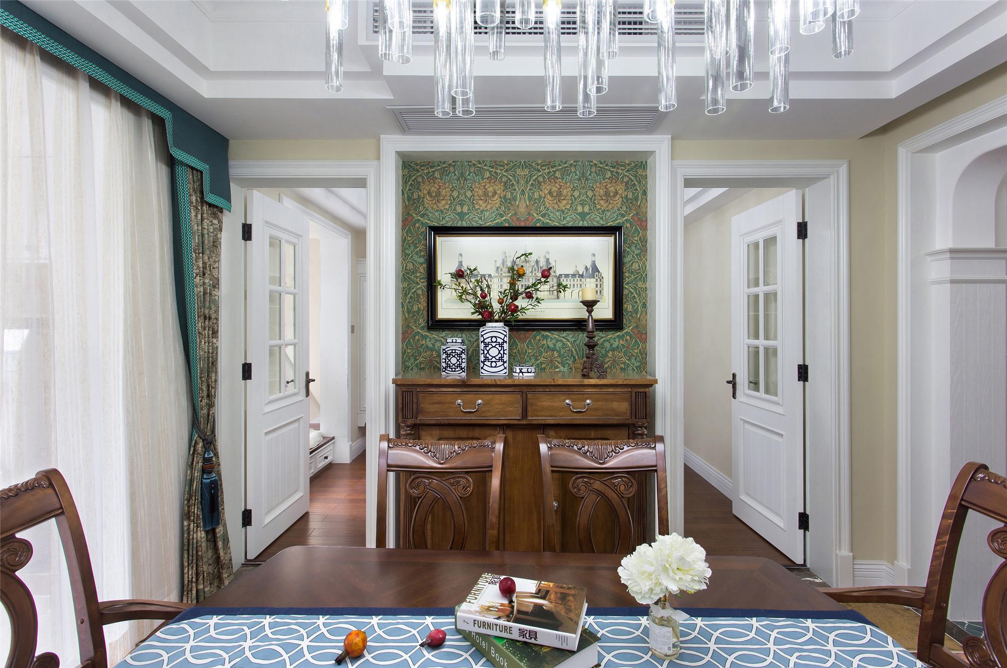 180㎡美式装修餐厅背景墙图片