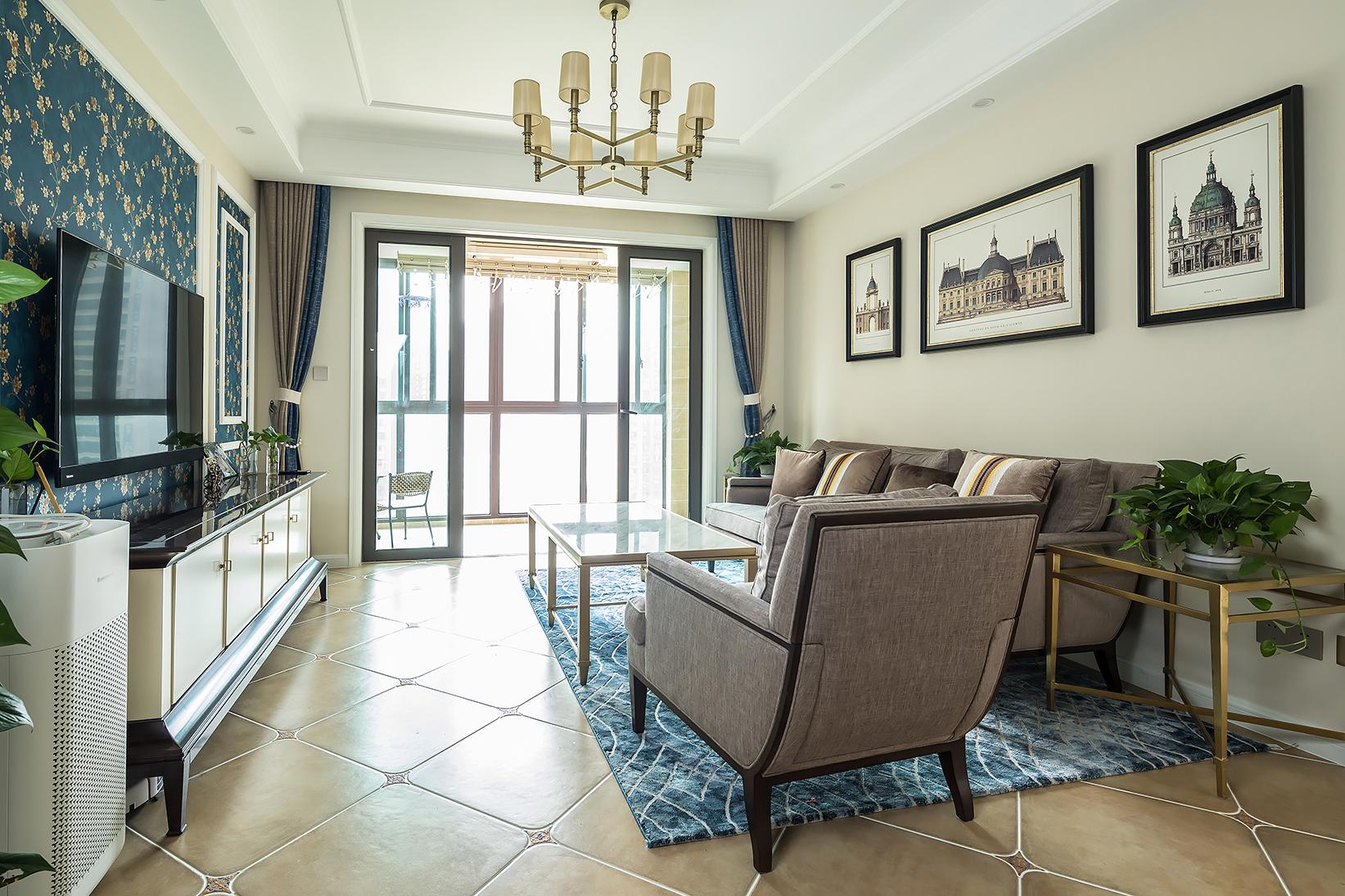 140平美式装修客厅效果图