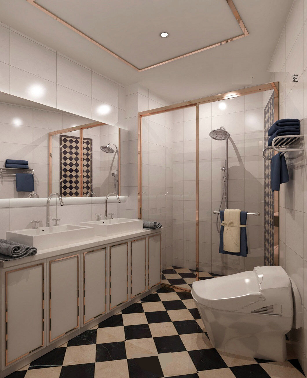 大户型现代风格装修卫生间效果图