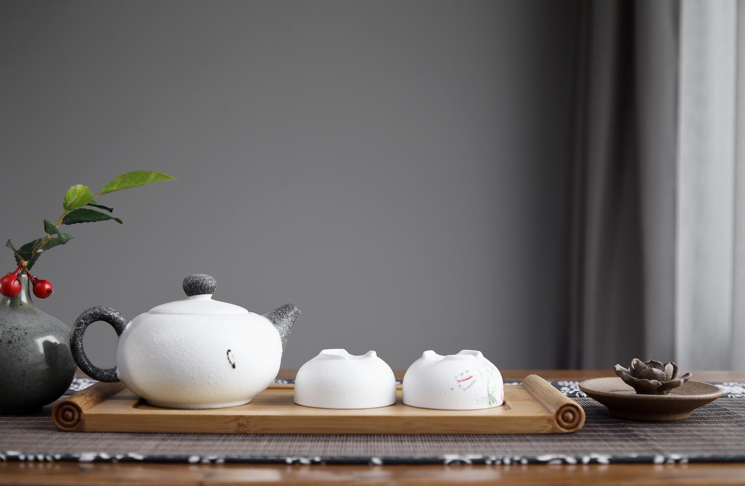 170平中式装修茶具特写
