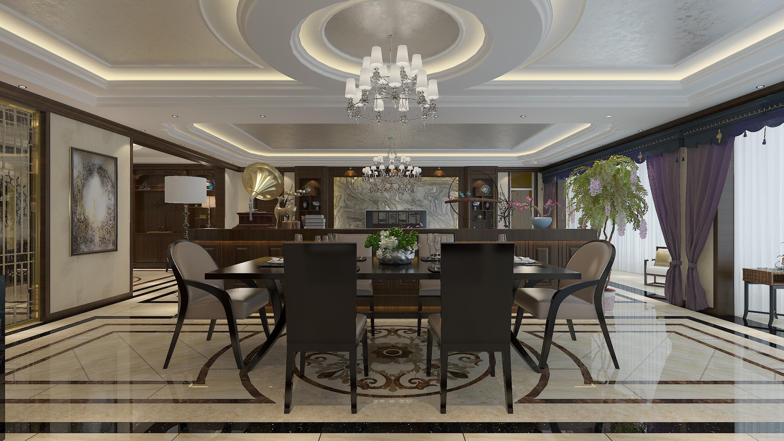 豪华中式装修餐客厅效果图