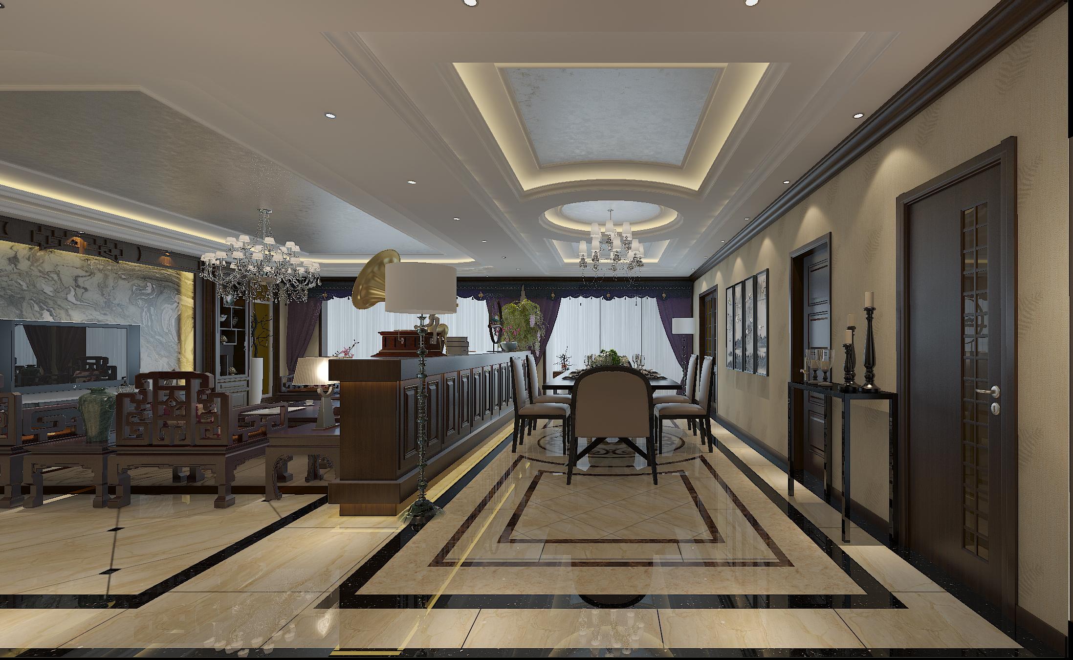 豪华中式装修顶面造型设计