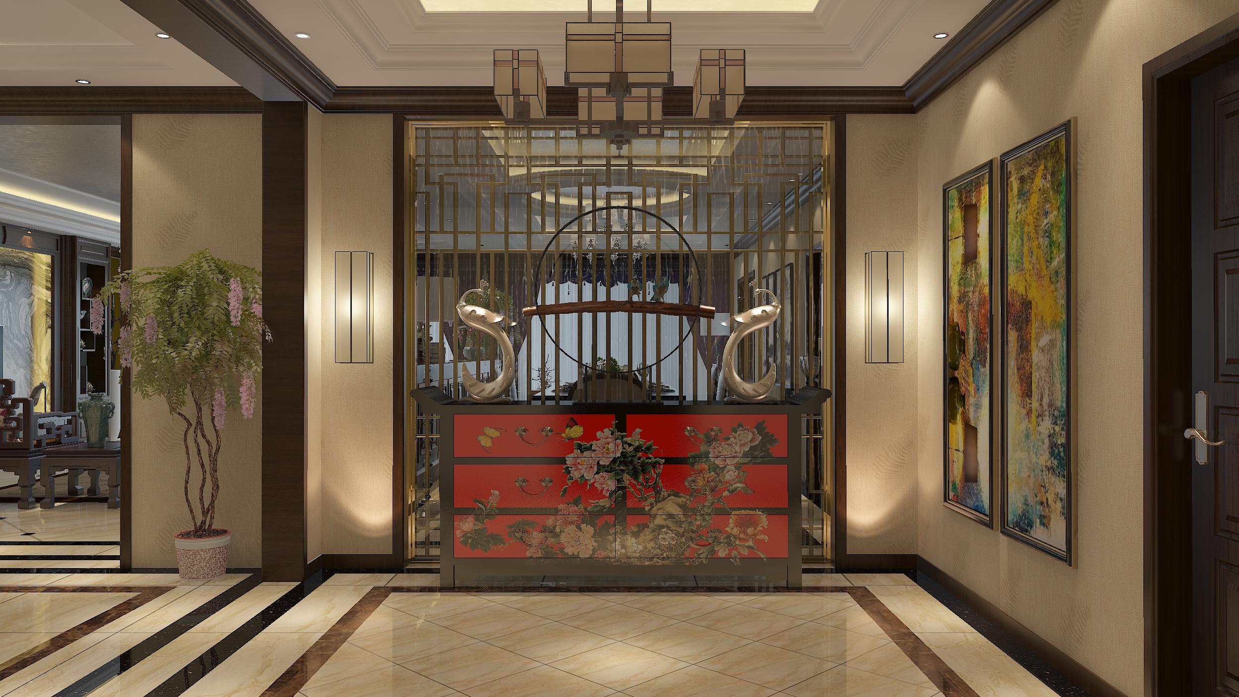豪华中式装修玄关设计图