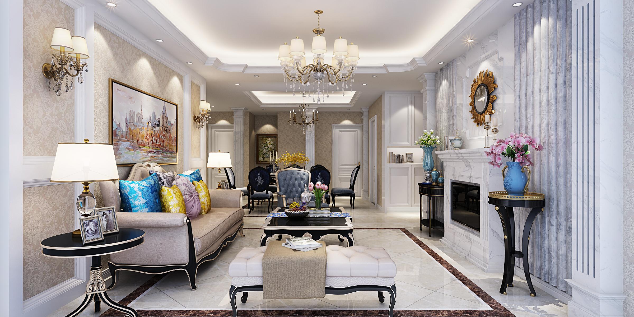 欧式新古典风装修客厅效果图