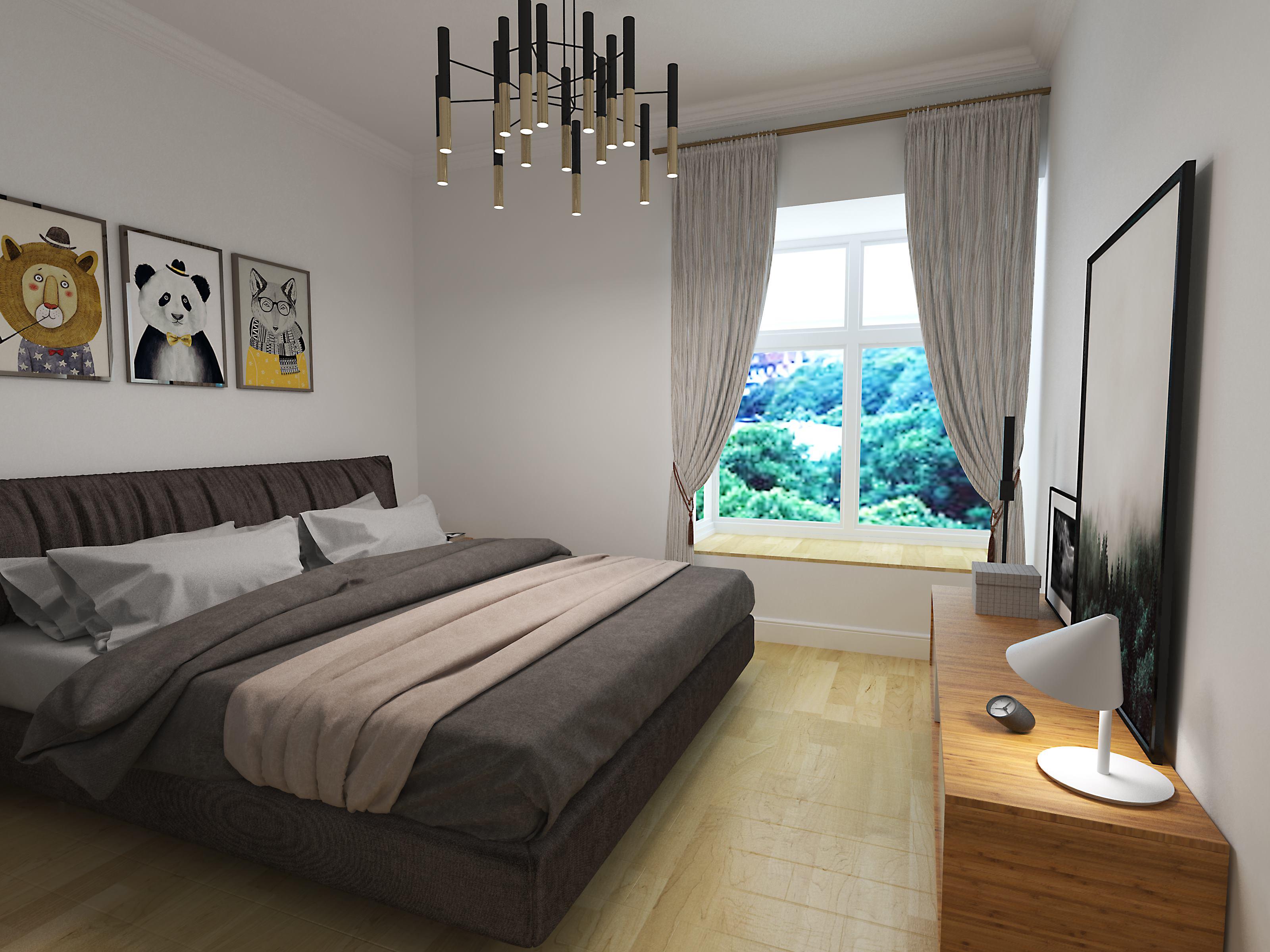 110平简约装修卧室设计图