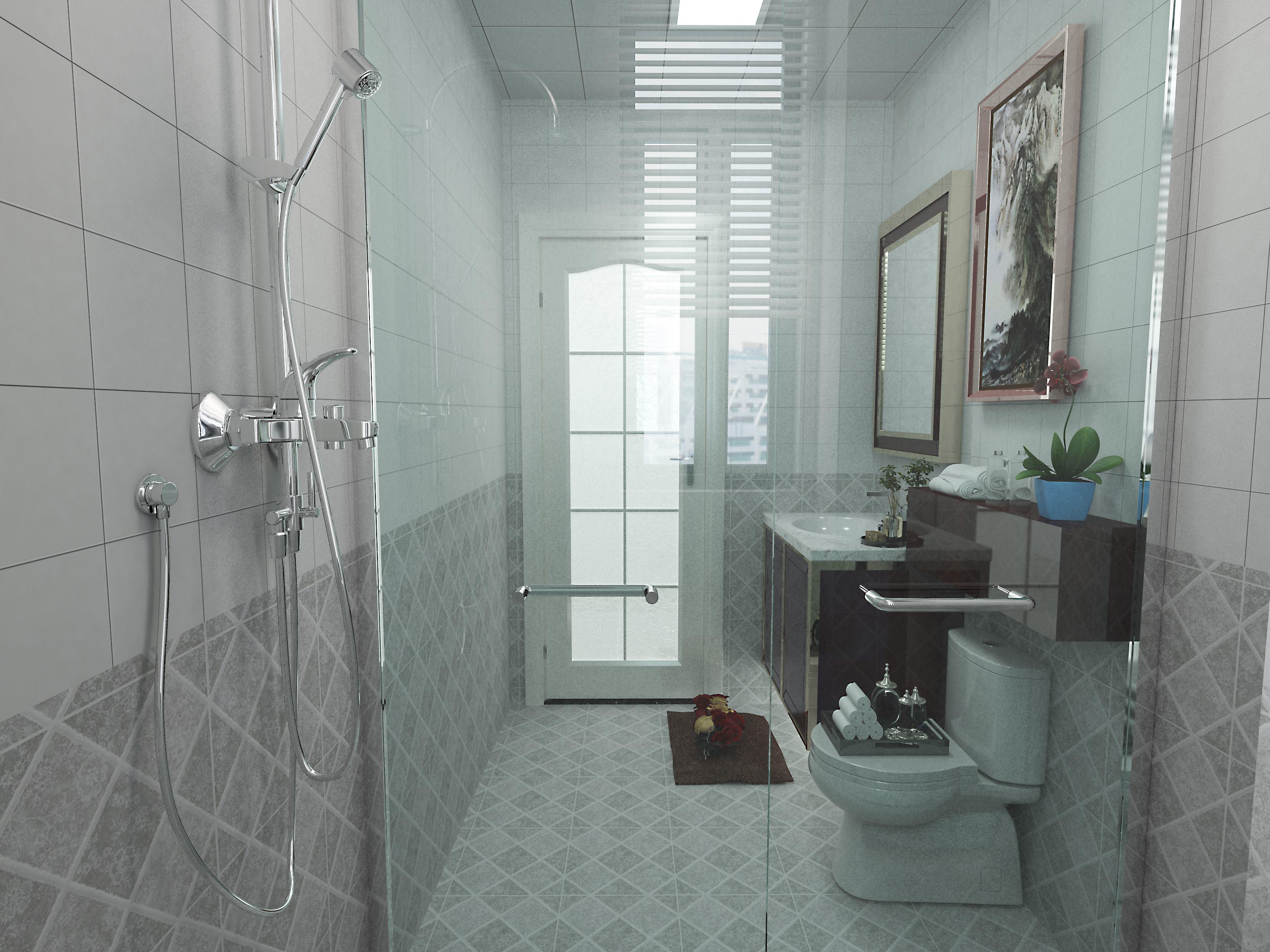 简约中式装修卫生间装潢图