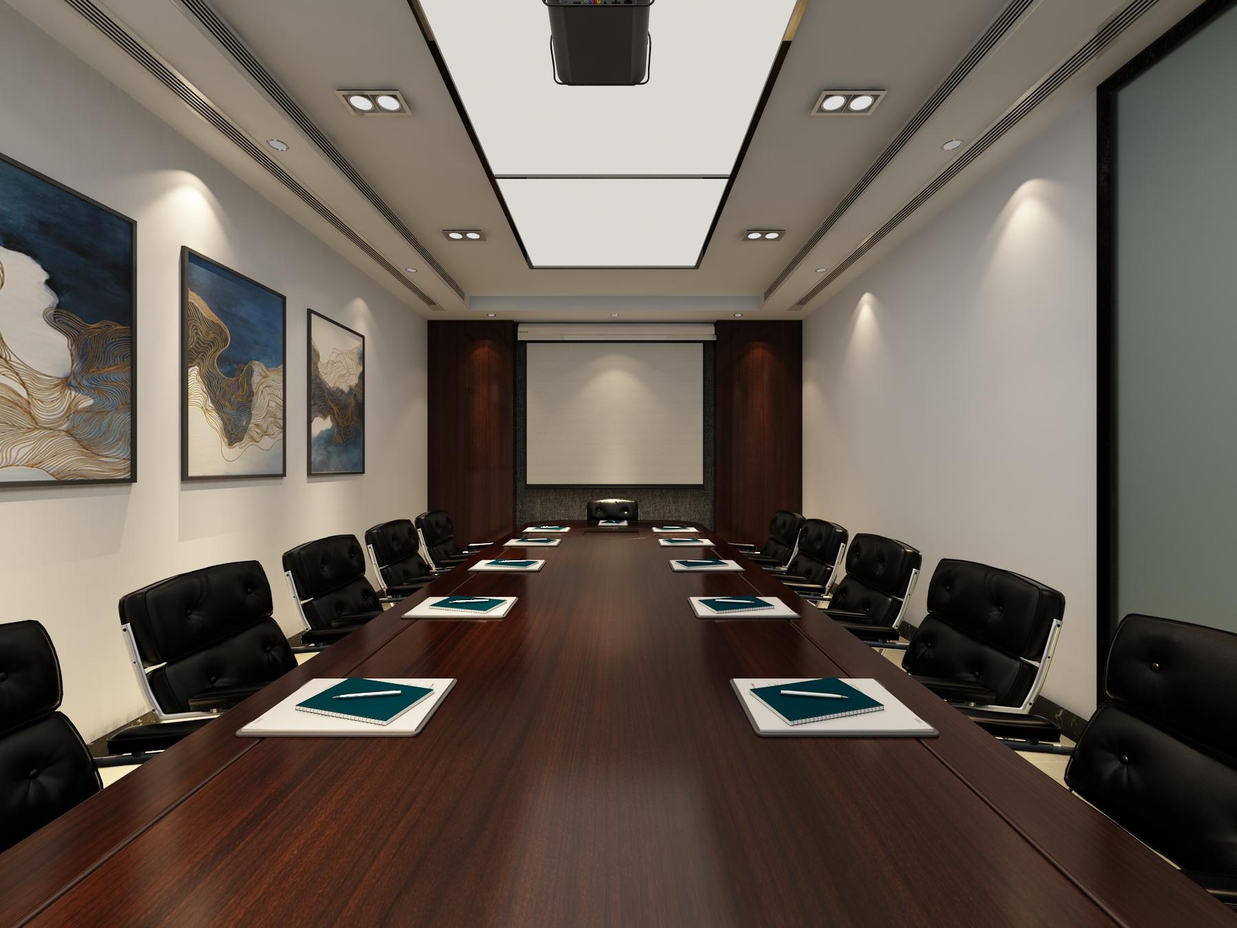 简约舒适的办公室装修会议室效果图