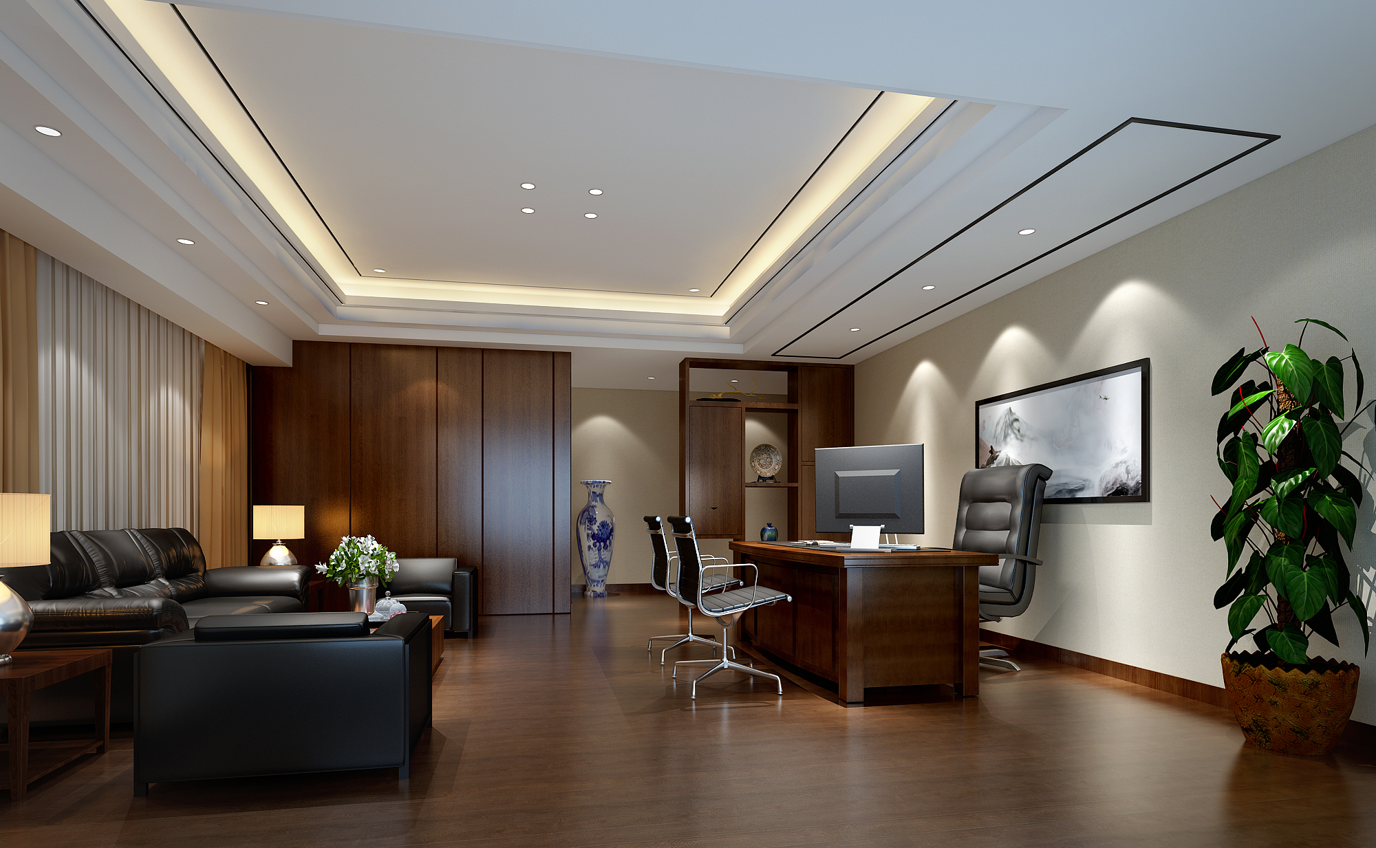 简约舒适的办公室装修效果图(二)