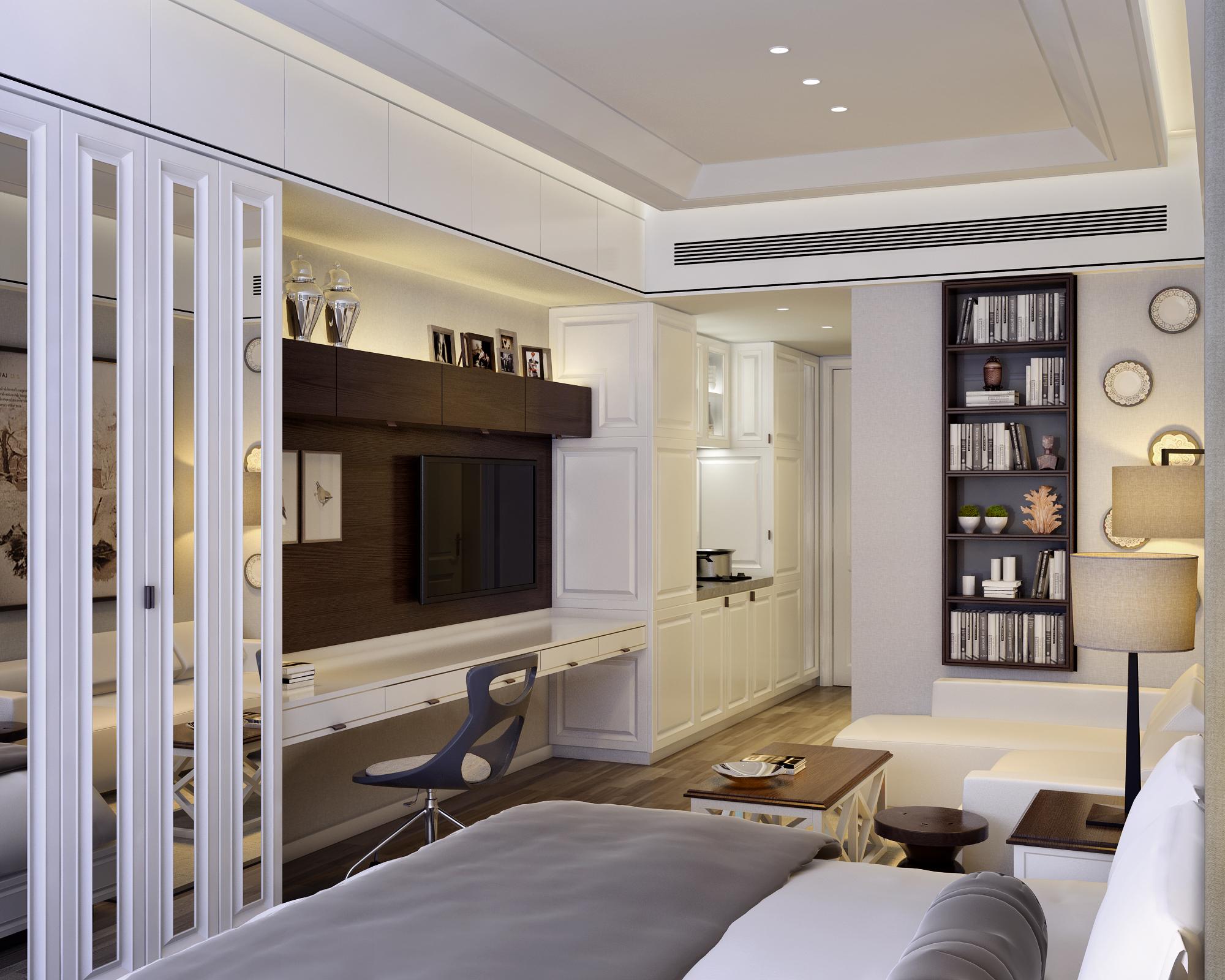 小户型样板间装修电视背景墙设计