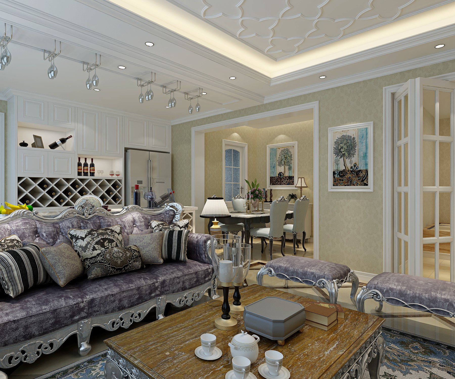 110平欧式风格装修客厅顶面造型