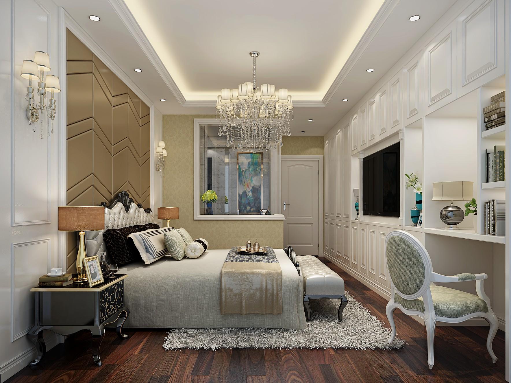 110平欧式风格装修卧室效果图
