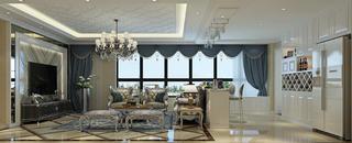 110平欧式风格装修客厅效果图