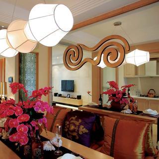 140平東南亞風格裝修餐廳背景墻設計