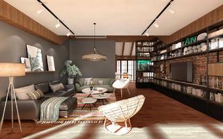 120平loft风格装修客厅效果图