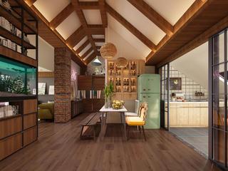 120平loft风格装修餐厅效果图