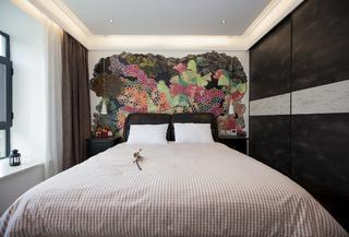 简约中式三居设计床头背景墙图片