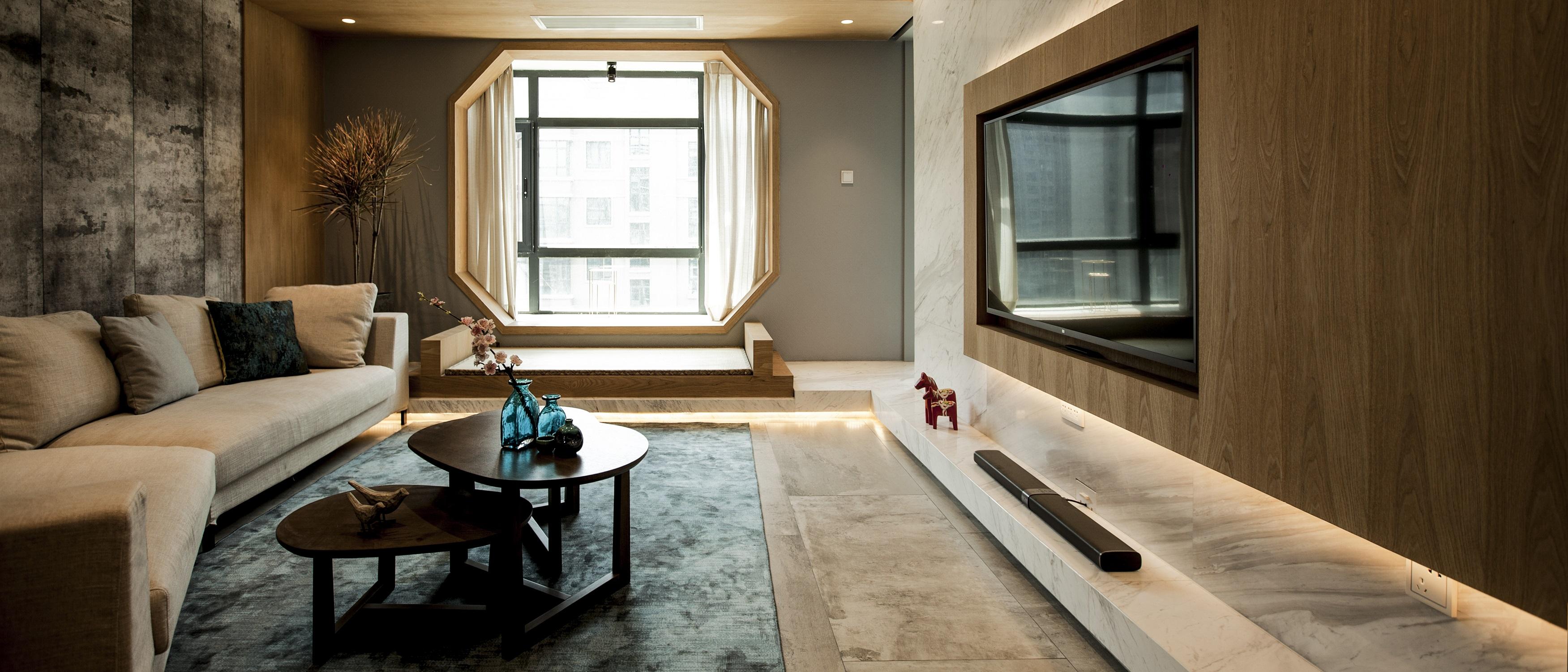 简约中式三居设计客厅效果图