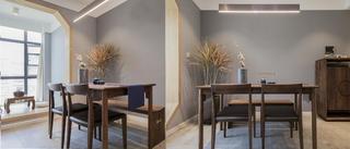 简约中式三居设计餐厅背景墙图片