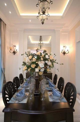简美别墅装修餐桌椅图片