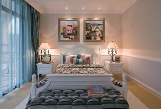简美别墅装修床头背景墙图片