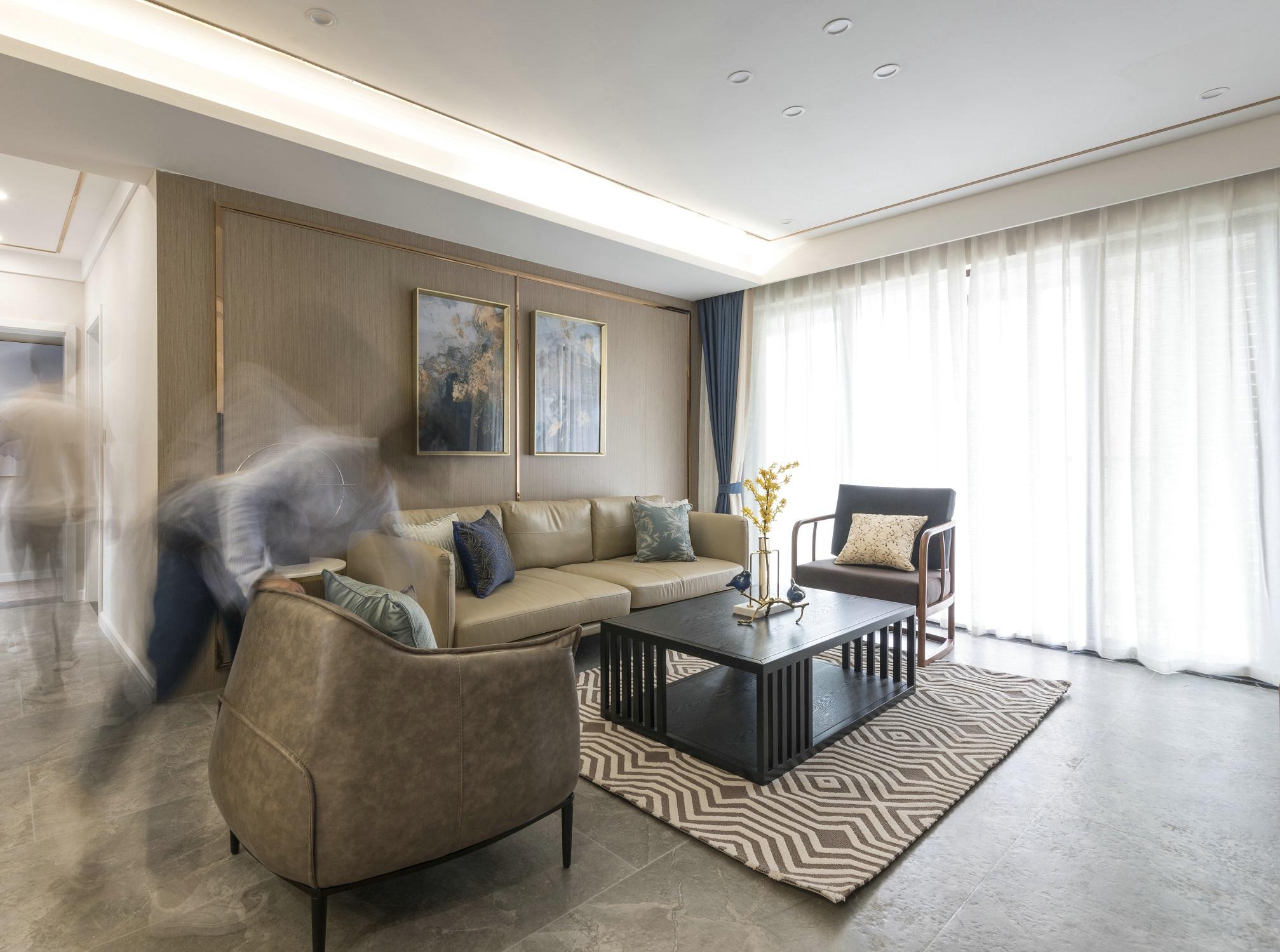 120平新中式设计沙发背景墙图片