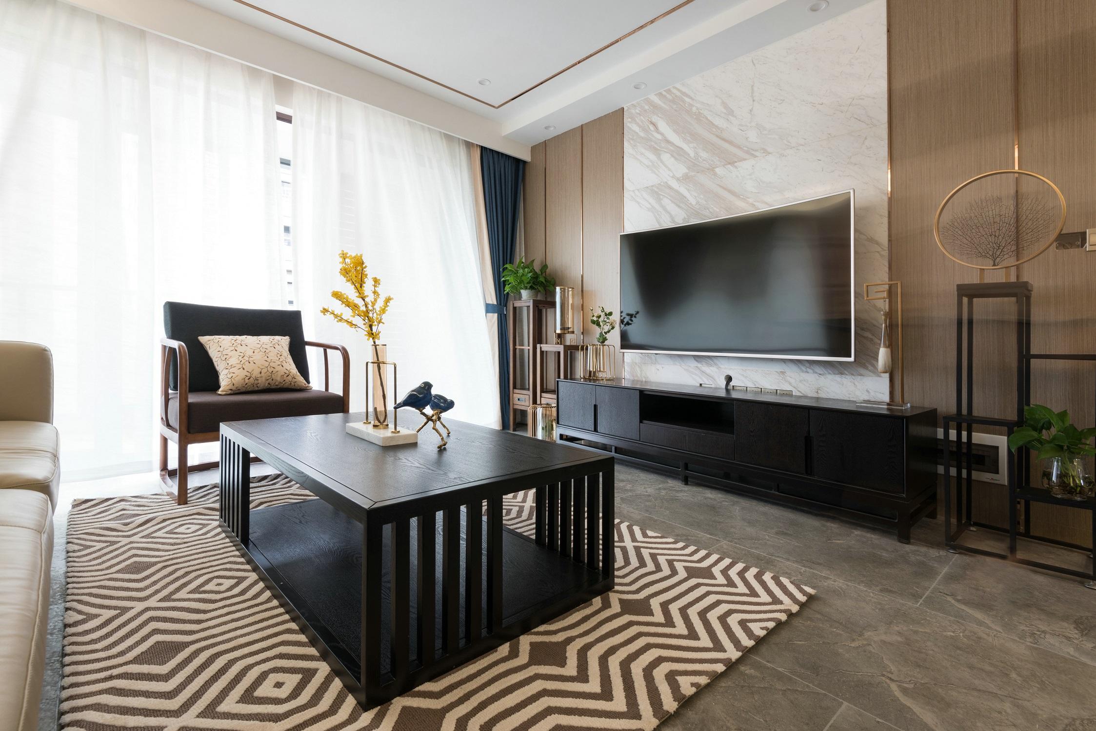 120平新中式设计客厅效果图