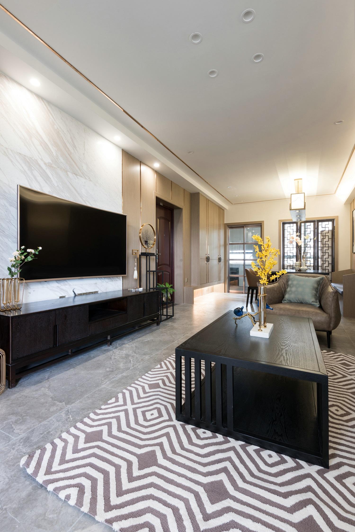 120平新中式设计电视背景墙图片