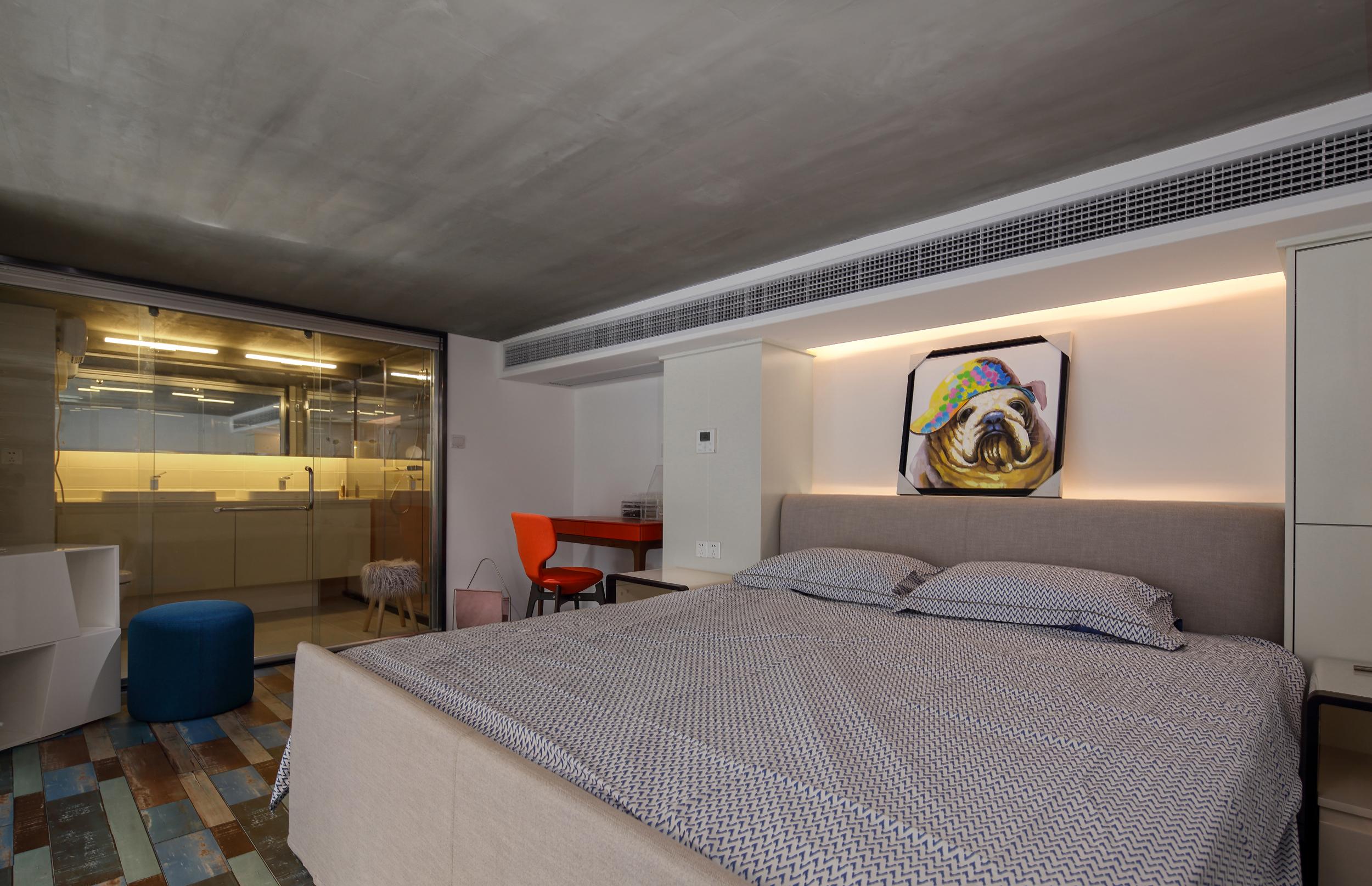 80平loft风格装修卧室效果图