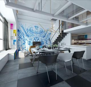 80平loft风格装修餐桌布置图