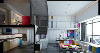 80平loft风格装修厨客厅效果图