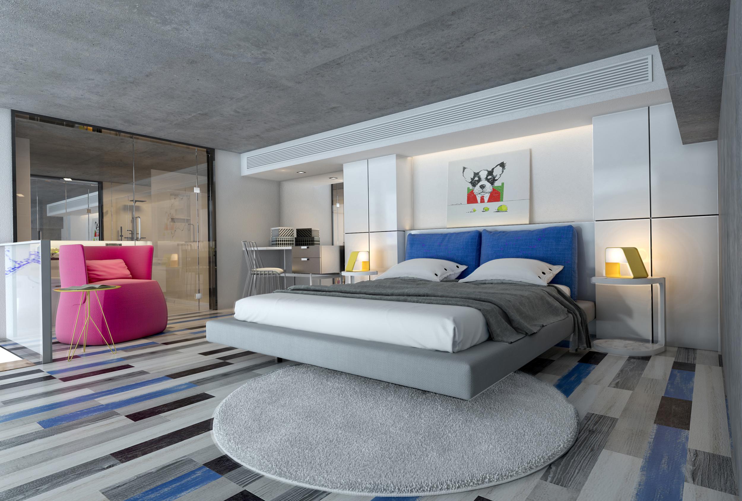 80平loft风格装修卧室设计图